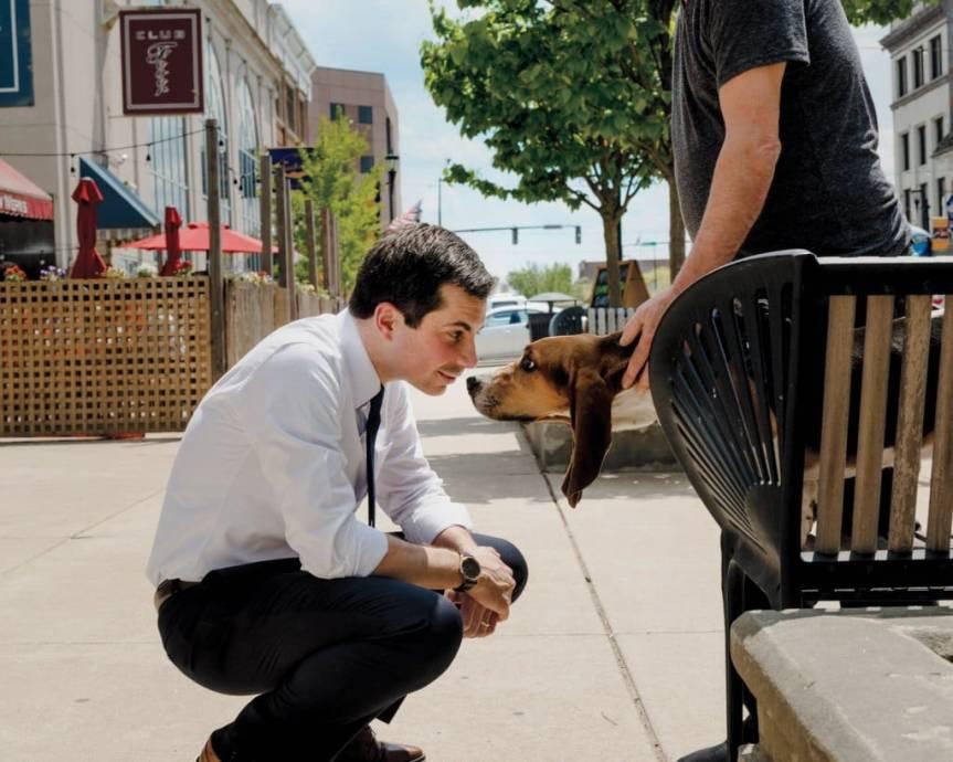 Pete Buttigieg Says Hello to a Dog